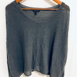 Eileen Fisher gray boxy sheer knit Sweater M